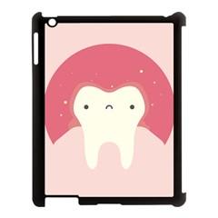 Sad Tooth Pink Apple iPad 3/4 Case (Black)