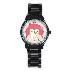 Sad Tooth Pink Stainless Steel Round Watch