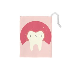 Sad Tooth Pink Drawstring Pouches (Small)