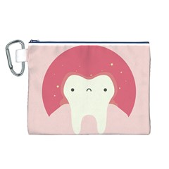 Sad Tooth Pink Canvas Cosmetic Bag (L)
