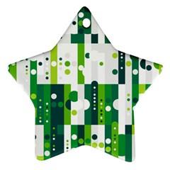 Generative Art Experiment Rectangular Circular Shapes Polka Green Vertical Ornament (Star)