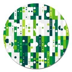 Generative Art Experiment Rectangular Circular Shapes Polka Green Vertical Magnet 5  (Round)