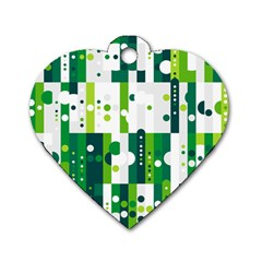 Generative Art Experiment Rectangular Circular Shapes Polka Green Vertical Dog Tag Heart (Two Sides)