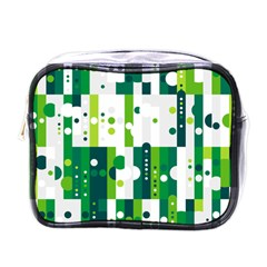 Generative Art Experiment Rectangular Circular Shapes Polka Green Vertical Mini Toiletries Bags