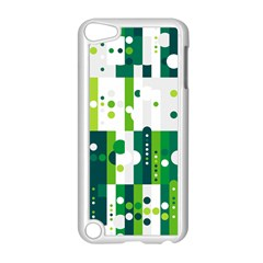 Generative Art Experiment Rectangular Circular Shapes Polka Green Vertical Apple iPod Touch 5 Case (White)