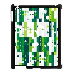 Generative Art Experiment Rectangular Circular Shapes Polka Green Vertical Apple iPad 3/4 Case (Black)