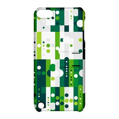 Generative Art Experiment Rectangular Circular Shapes Polka Green Vertical Apple iPod Touch 5 Hardshell Case with Stand