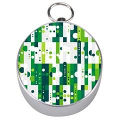 Generative Art Experiment Rectangular Circular Shapes Polka Green Vertical Silver Compasses