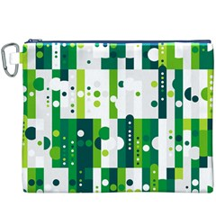 Generative Art Experiment Rectangular Circular Shapes Polka Green Vertical Canvas Cosmetic Bag (XXXL)
