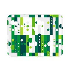 Generative Art Experiment Rectangular Circular Shapes Polka Green Vertical Double Sided Flano Blanket (Mini)