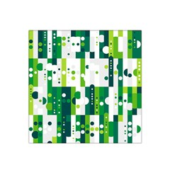 Generative Art Experiment Rectangular Circular Shapes Polka Green Vertical Satin Bandana Scarf