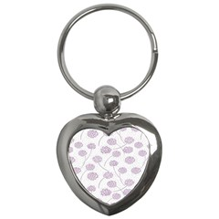 Purple Tulip Flower Floral Polkadot Polka Spot Key Chains (Heart)