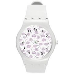Purple Tulip Flower Floral Polkadot Polka Spot Round Plastic Sport Watch (M)