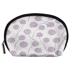 Purple Tulip Flower Floral Polkadot Polka Spot Accessory Pouches (large)