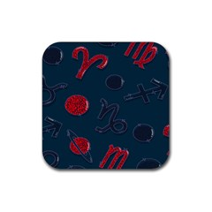 Zodiac Signs Planets Blue Red Space Rubber Square Coaster (4 pack)