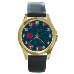 Zodiac Signs Planets Blue Red Space Round Gold Metal Watch