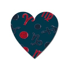 Zodiac Signs Planets Blue Red Space Heart Magnet