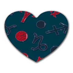 Zodiac Signs Planets Blue Red Space Heart Mousepads