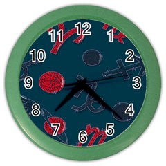Zodiac Signs Planets Blue Red Space Color Wall Clocks