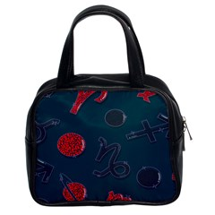 Zodiac Signs Planets Blue Red Space Classic Handbags (2 Sides)