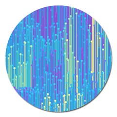 Vertical Behance Line Polka Dot Blue Green Purple Magnet 5  (Round)