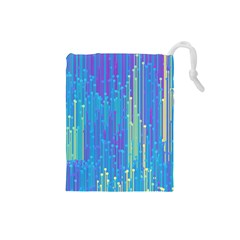 Vertical Behance Line Polka Dot Blue Green Purple Drawstring Pouches (Small)