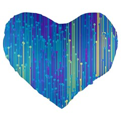 Vertical Behance Line Polka Dot Blue Green Purple Large 19  Premium Flano Heart Shape Cushions