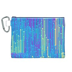 Vertical Behance Line Polka Dot Blue Green Purple Canvas Cosmetic Bag (XL)