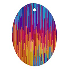 Vertical Behance Line Polka Dot Blue Red Orange Ornament (Oval)
