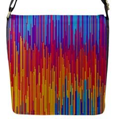 Vertical Behance Line Polka Dot Blue Red Orange Flap Messenger Bag (S)