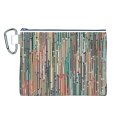 Vertical Behance Line Polka Dot Grey Blue Brown Canvas Cosmetic Bag (L)