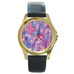 Vertical Behance Line Polka Dot Blue Green Purple Red Blue Small Round Gold Metal Watch