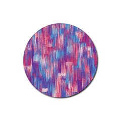 Vertical Behance Line Polka Dot Blue Green Purple Red Blue Small Rubber Round Coaster (4 pack)