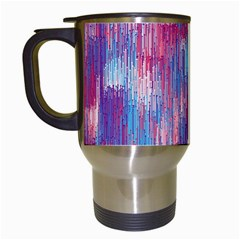 Vertical Behance Line Polka Dot Blue Green Purple Red Blue Small Travel Mugs (White)