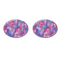 Vertical Behance Line Polka Dot Blue Green Purple Red Blue Small Cufflinks (Oval)