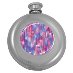 Vertical Behance Line Polka Dot Blue Green Purple Red Blue Small Round Hip Flask (5 oz)