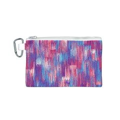 Vertical Behance Line Polka Dot Blue Green Purple Red Blue Small Canvas Cosmetic Bag (S)