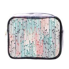Vertical Behance Line Polka Dot Grey Pink Mini Toiletries Bags