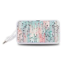 Vertical Behance Line Polka Dot Grey Pink Portable Speaker (White)