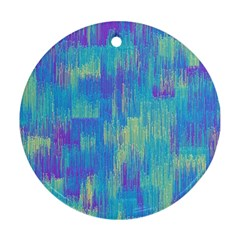 Vertical Behance Line Polka Dot Purple Green Blue Round Ornament (two Sides)