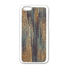 Vertical Behance Line Polka Dot Grey Orange Apple iPhone 6/6S White Enamel Case