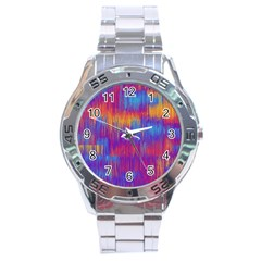 Vertical Behance Line Polka Dot Red Blue Orange Stainless Steel Analogue Watch