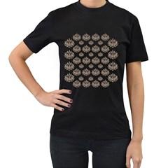 Dot Lotus Flower Flower Floral Women s T-Shirt (Black)