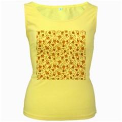 Floral pattern Women s Yellow Tank Top
