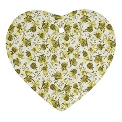 Floral pattern Heart Ornament (Two Sides)