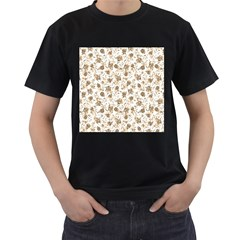 Floral pattern Men s T-Shirt (Black) (Two Sided)