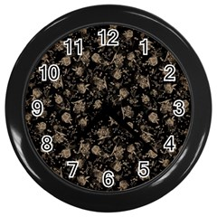 Floral pattern Wall Clocks (Black)