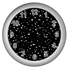 Dots pattern Wall Clocks (Silver)