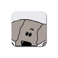 Peeping Weimaraner Rubber Coaster (Square)