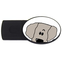 Peeping Weimaraner USB Flash Drive Oval (1 GB)
